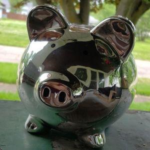 Silver Porcelain Piggy Bank